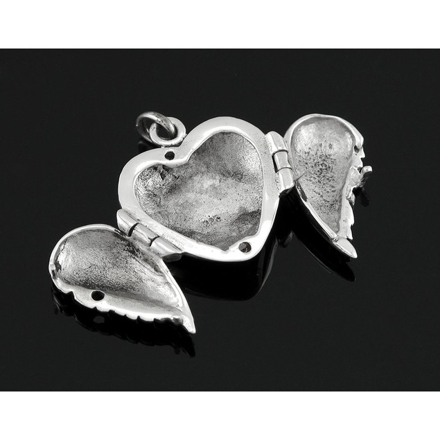 Sterling Silver Winged Heart Locket Pendant Womens Individual Pendants