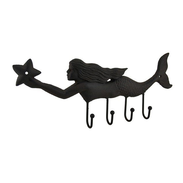 Swimming Starfish Mermaid Cast Iron Wall Hook Decorative Wall Hooks