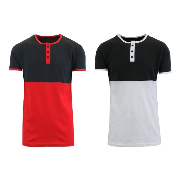 2-Pack Men's 100% Cotton Short Sleeve Henley Tees