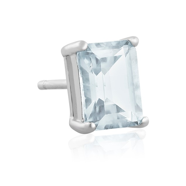 2 1/2ct Emerald Cut Aquamarine Earrings In Sterling Silver