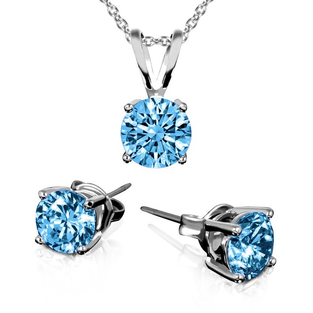 Birthstone Sterling Silver Earring & Pendant Set
