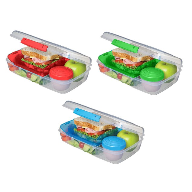 6 Pack of Bento Lunch Box Food Storage Container Set - 5 Compartment