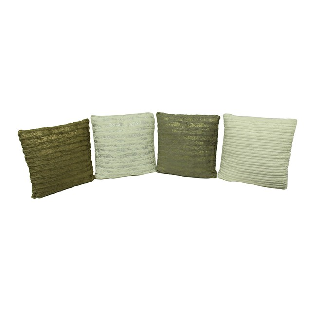 Set Of 4 Metallic And Faux Fur Throw Pillows Throw Pillows