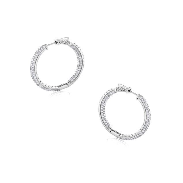 0.925 Sterling Silver 25mm Insidout Cubic Zircon Pave Setting Huggie Hoop Earrings