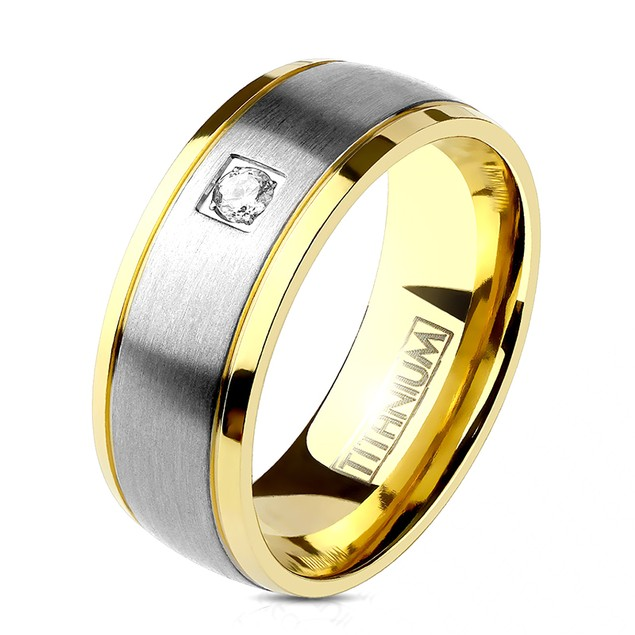 Single CZ Two Tone Gold IP Edge Steel Brushed Finished Center Titanium Ring