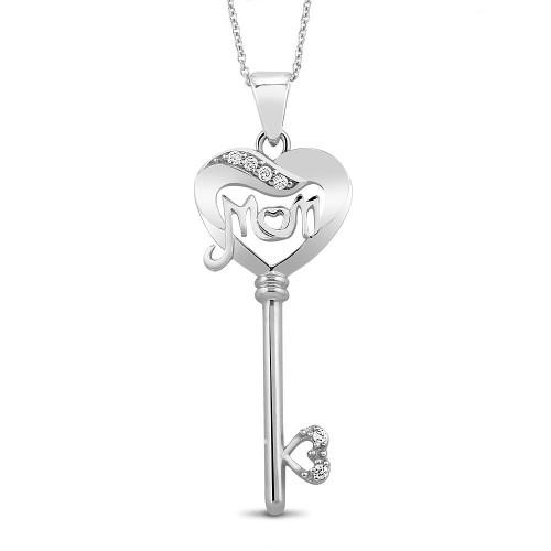 "0.925 Sterling Silver Cubic Zirconia Mom Key & Heart Shape Pendant Plus 18"" Necklace Set"