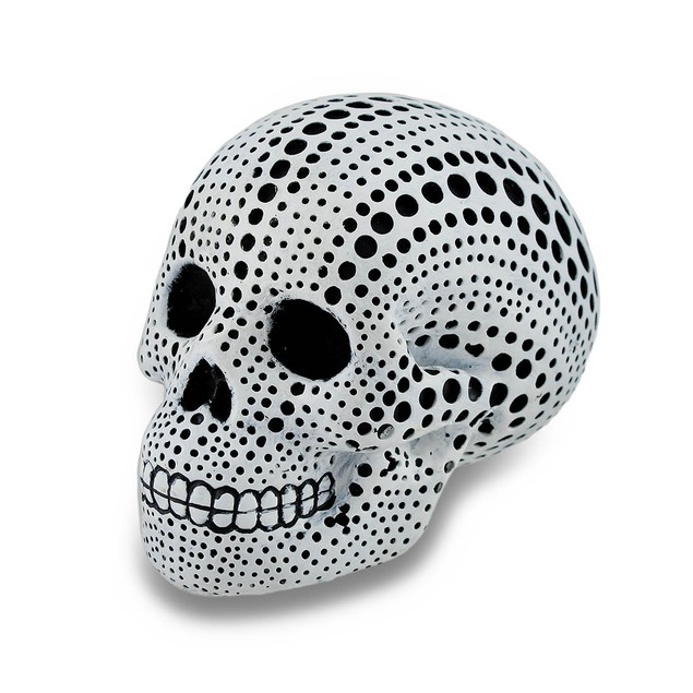 White And Black Dotted Mini Human Skull Statue 3.5 Head Sculptures