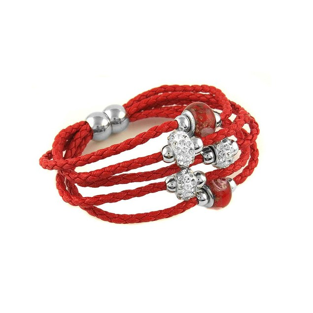 Crystal & Leather Murano Beaded Bracelet - 7 Colors