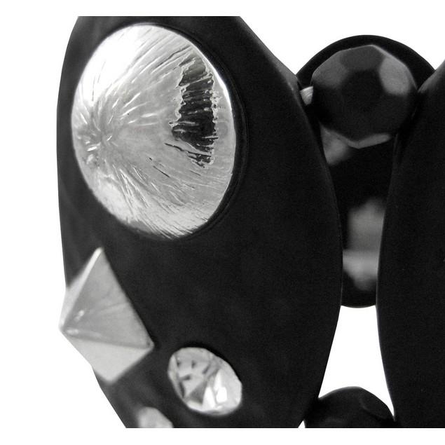 Black Enamel Hammered Metal Studded Stretch Womens Stretch Bracelets