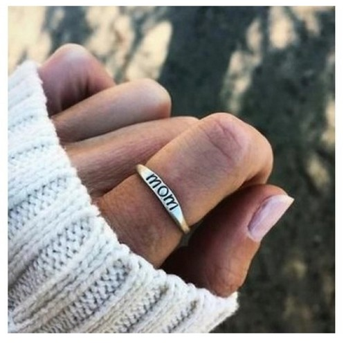 Mom Engraved Elegant Ring