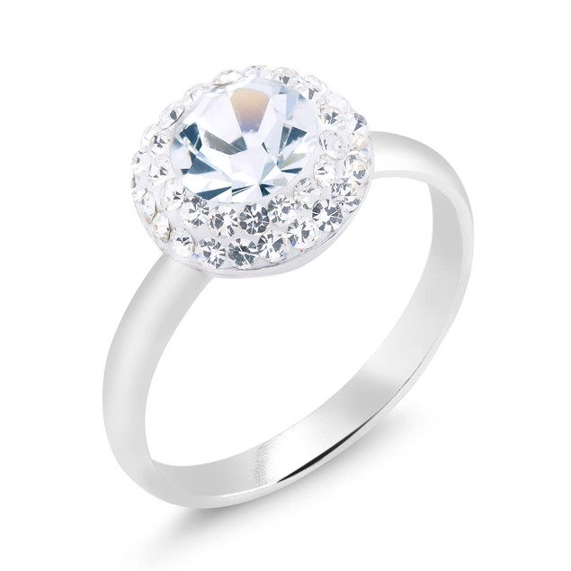Round Crystal Halo Engagement Ring
