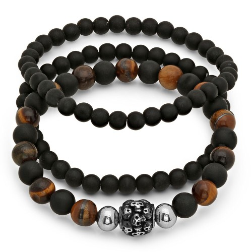 Set of 3 black Lava and Tiger Eye Beaded Bracelet