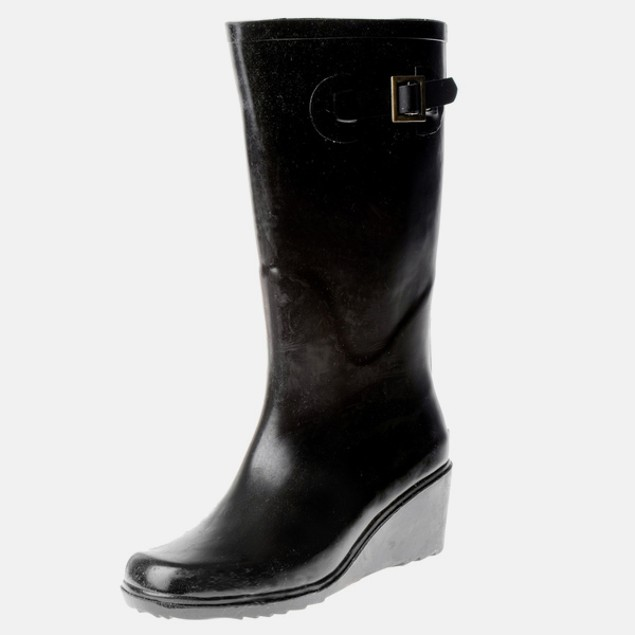 Women's Solid Black Matte Rubber Wedge Boots