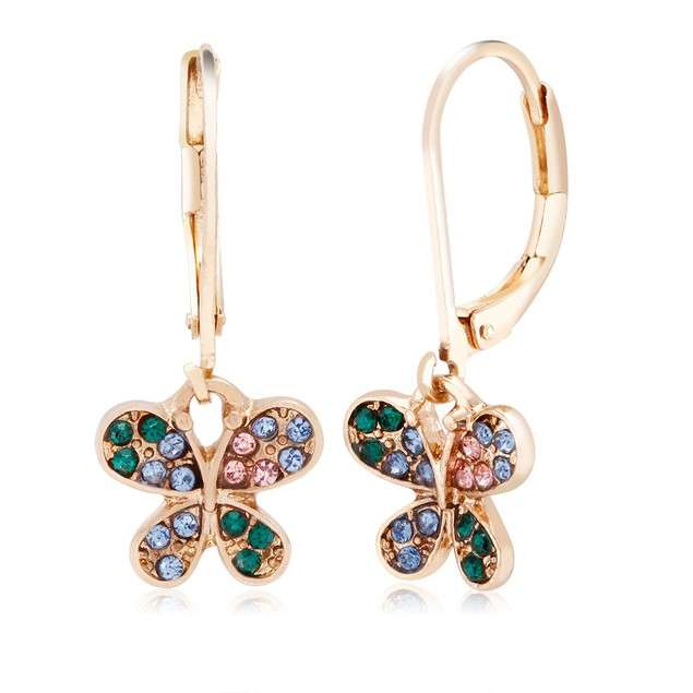 Cubic Zirconia Gold Plated Butterfly Earrings