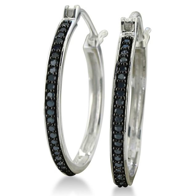 Sterling Silver 1/4ct Black Diamond Hoop Earrings