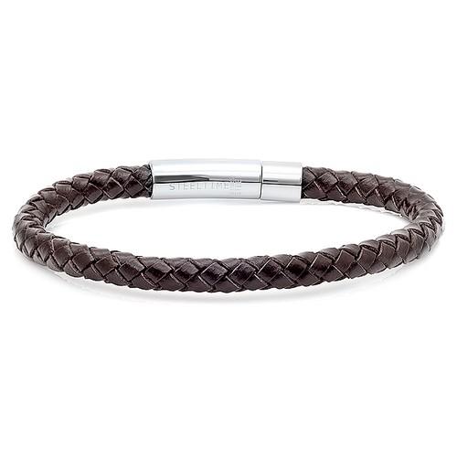 Men's Braided Genuine Leather Bracelet In Dark Brown