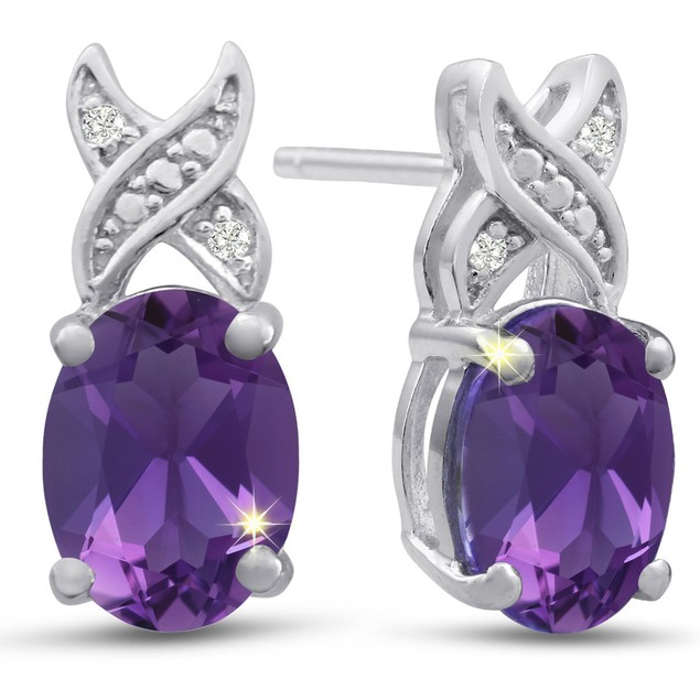 Platinum Plated 3 Carat Oval Shape Amethyst and Diamond Earrings