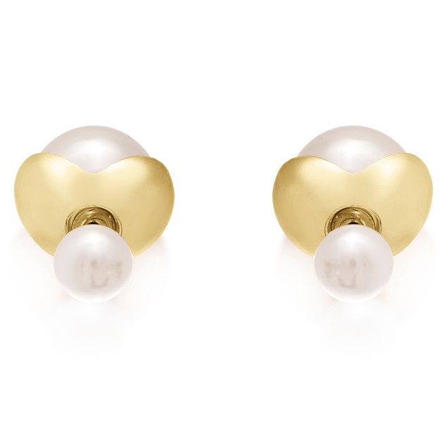Double-Sided Imitation Pearl Stud Flower Petal Earrings
