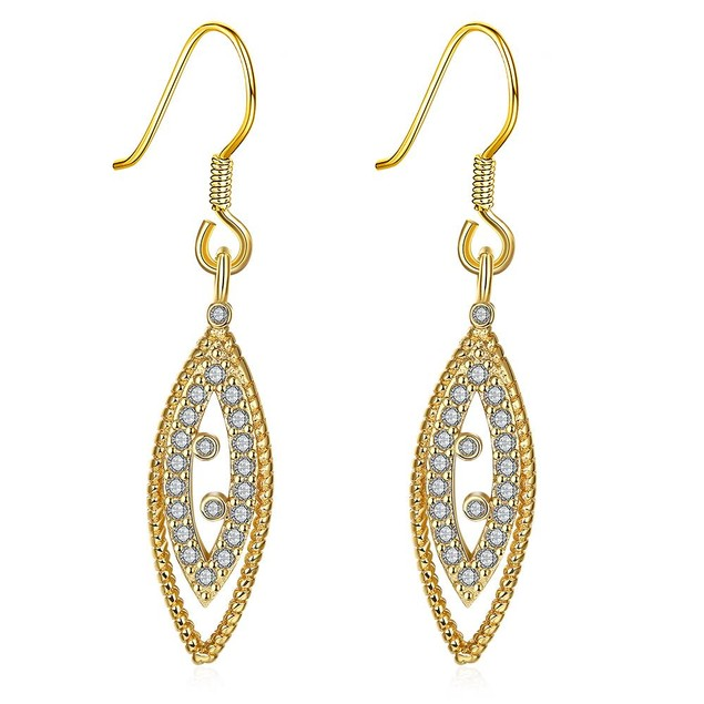 Gold Plated Classic Roman Inspired Drop Down Earrings