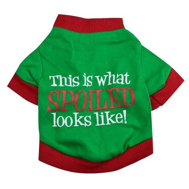 Christmas Pet Dog Puppy Clothes Cotton Double Color Letter Shirt Clothes