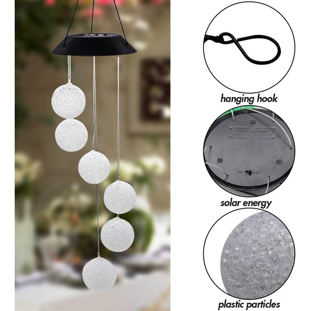 2 Pack Solar Crystal Ball Wind Chime, Color Changing