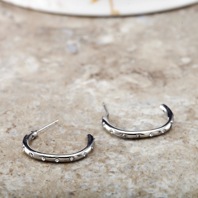 Designer Inspired Cubic Zirconia Spotted Hoop Earrings