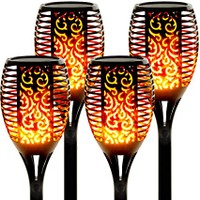 4 Pack- 96 LEDs Waterproof Flickering Flame Solar Torch Lights