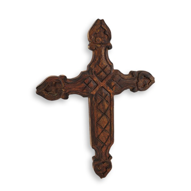 Carved Wooden Cross Wall Hanging Wall Sculptures