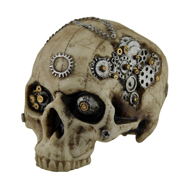 Map Head Mechanical Steampunk Skull Statue Statues