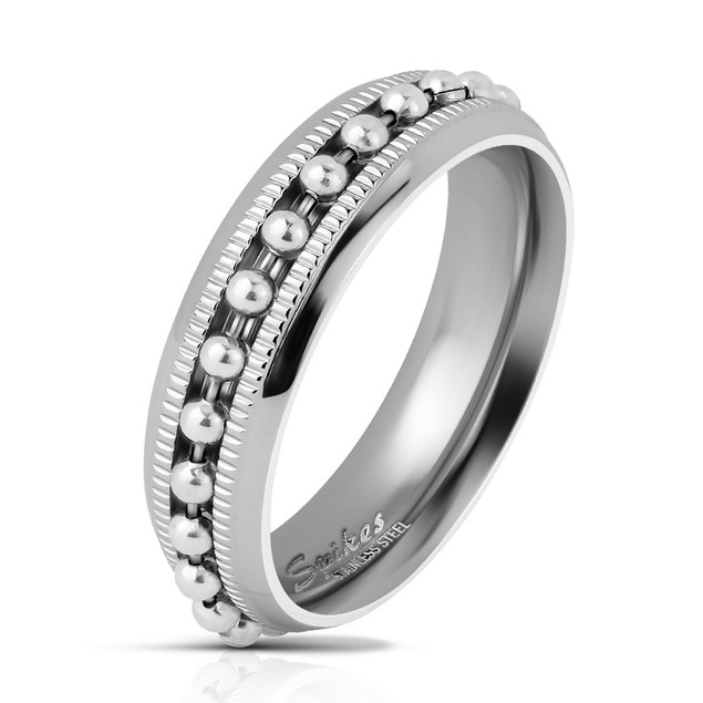 Bead Chain Spinner Centered Channel Stainless Steel Ring - 2 Colors