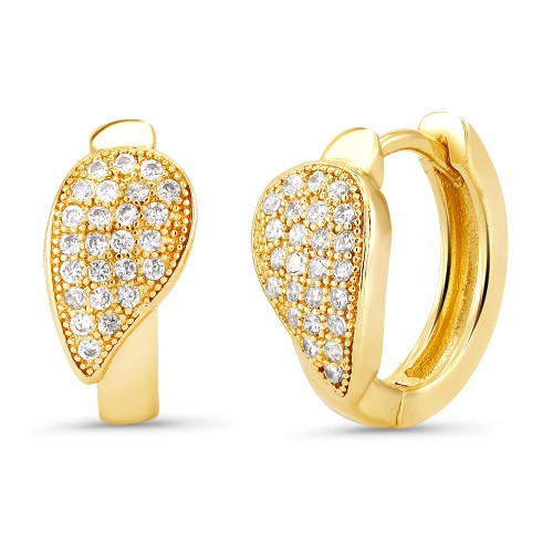 18kt Yellow Pear Goldtone Cubic zirconia  Huggie Earrings