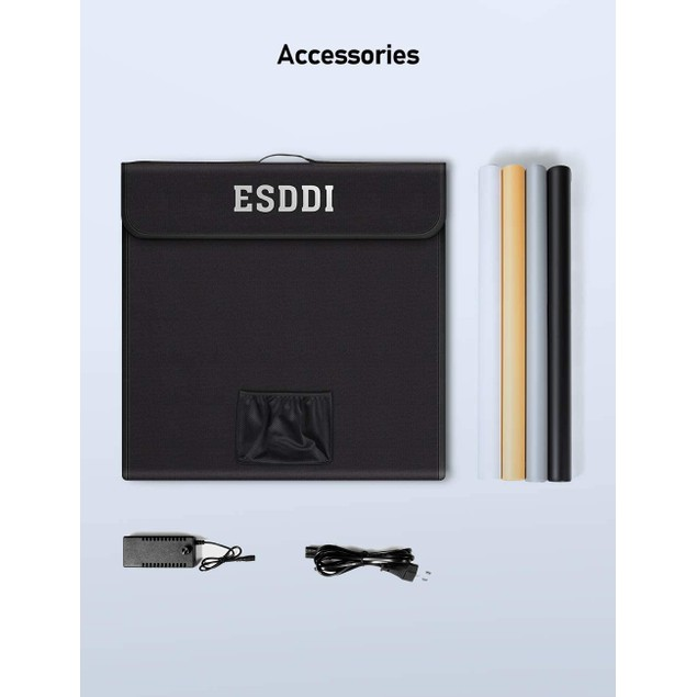 "ESDDI Photo Studio Light Box 24""/60cm Adjustable Brightness Portable Folding Hook & Loop"