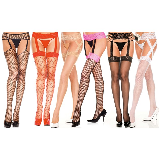 Women's Fishnet Suspender Pantyhose in Regular and Plus Sizes