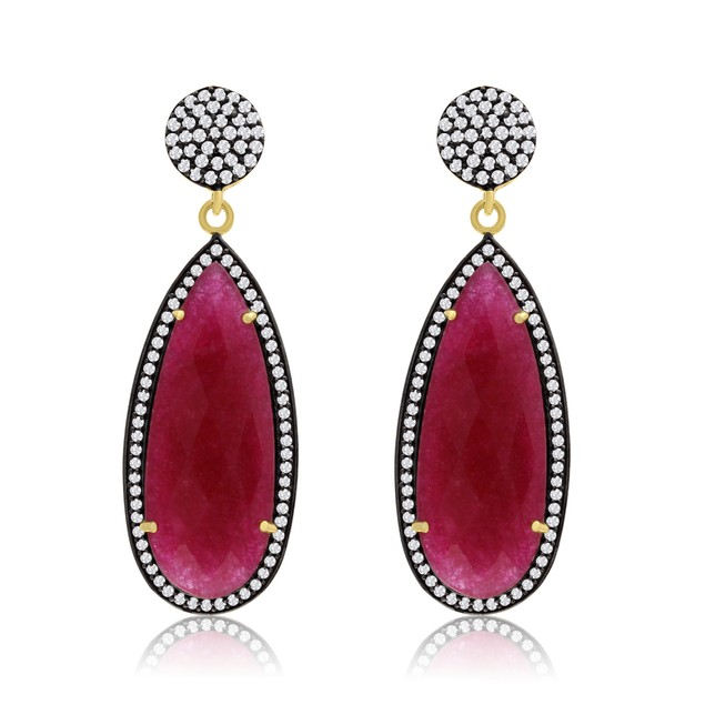 14k Yellow Gold 32 Carat Pear Ruby and CZ Dangle Earrings
