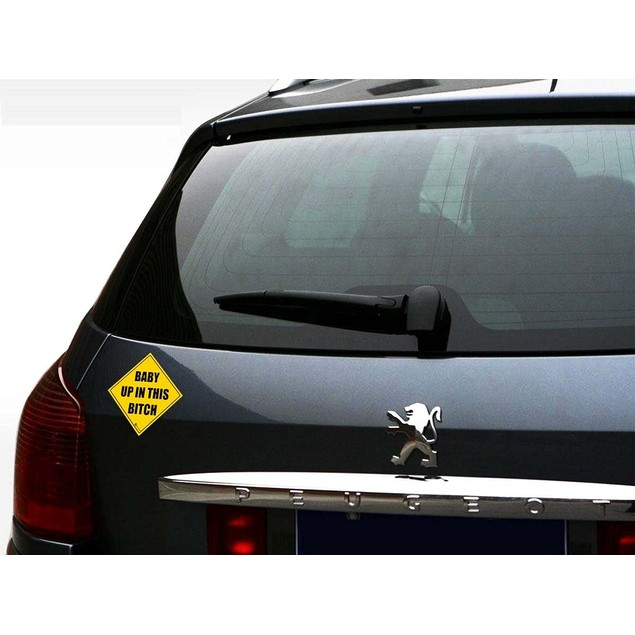 Zone Tech Reflective Baby Up in This Bitch Bumper Decal Magnet