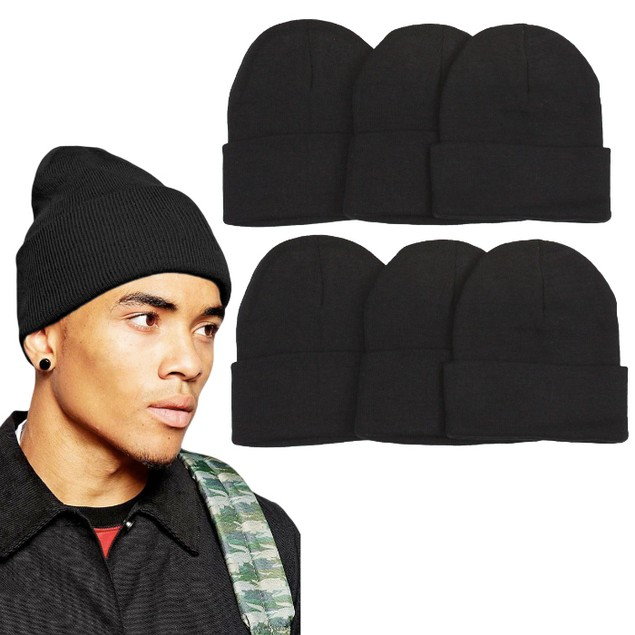 6-Pack of Unisex Warm Double-Layered Beanies