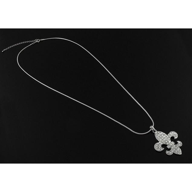 Silver Tone Rhinestone Fleur De Lis Necklace 28 Womens Pendant Necklaces