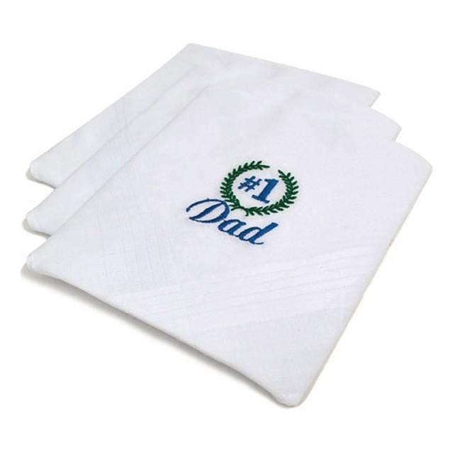 "Men's""#1 Grandpa"" Or ""Dad"" Cotton Embroidered Handkerchiefs 3pcs Set"