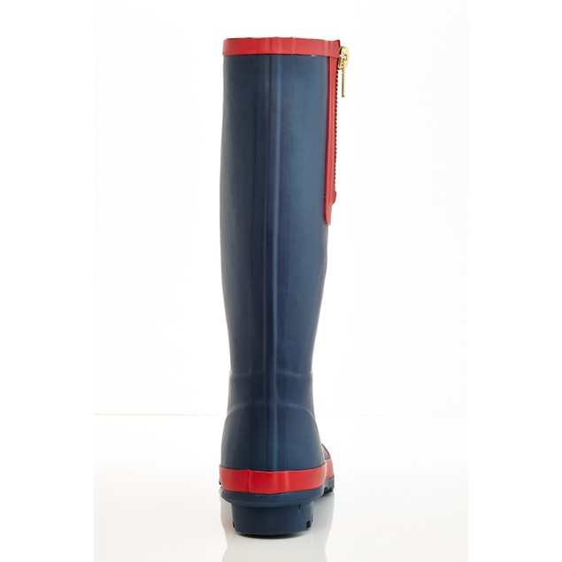 Mozart Women's two-tone color pull on Tall Rain boots with Zipper Design