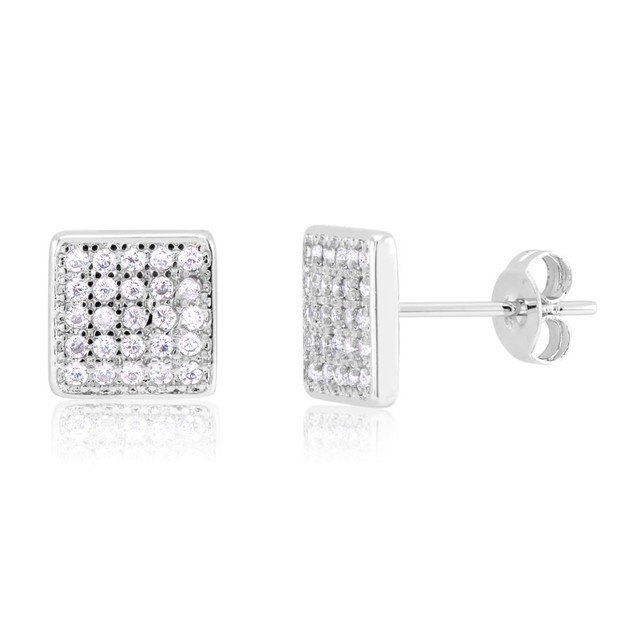 Gold Plated Crystal Square Stud Earrings