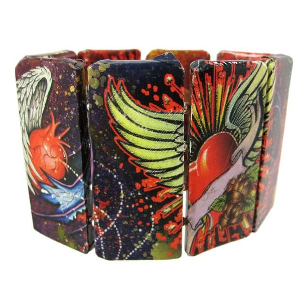 Paper Art Work Stretch Bracelet Tattoo Art With Womens Bangle Bracelets
