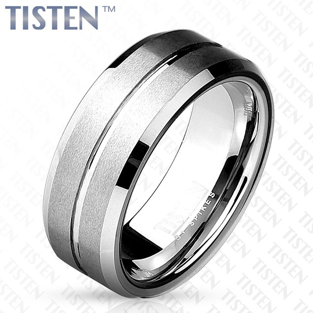 Matte Grooved Line Center with Beveled Edge Tisten Ring