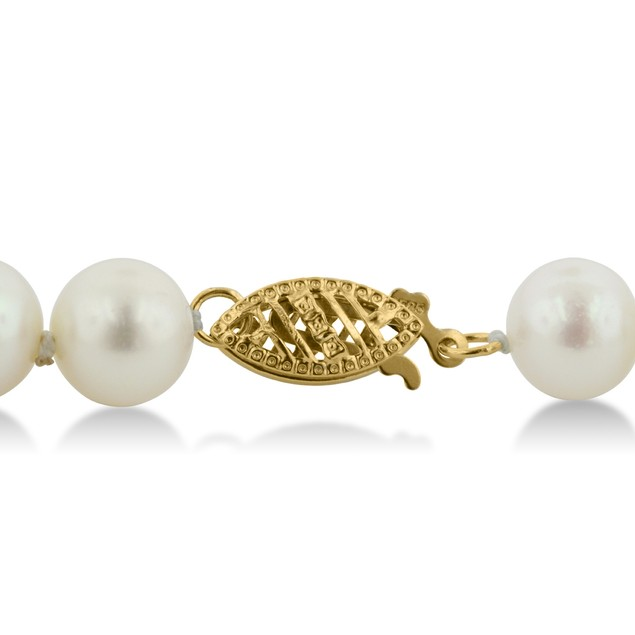 14k Yellow Gold Clasp Hand-Knotted Pearl Necklace, 8mm