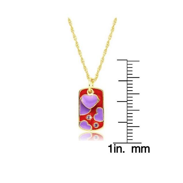 "18KGP 2pc-Set-Red & Purple Enamel Hearts W/ CZ ID Pendant + Chain (13""+2 inch Extender)"