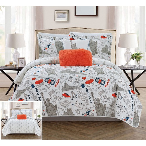 New York Reversible Quilt Set with Pillows