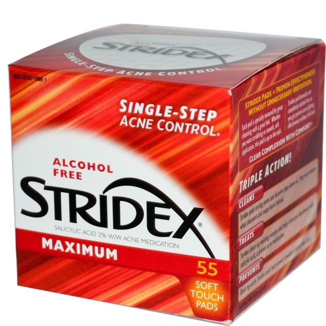 Stridex Triple Action Acne Pads With Salicylic Acid 55 Pad Box