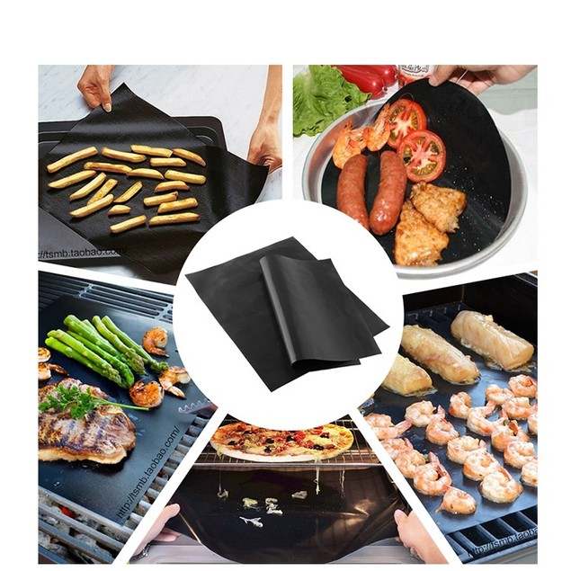 Set of 4 Heavy Duty BBQ Grill Mats, Non Stick Grilling & Baking Mats with Silicone Brush