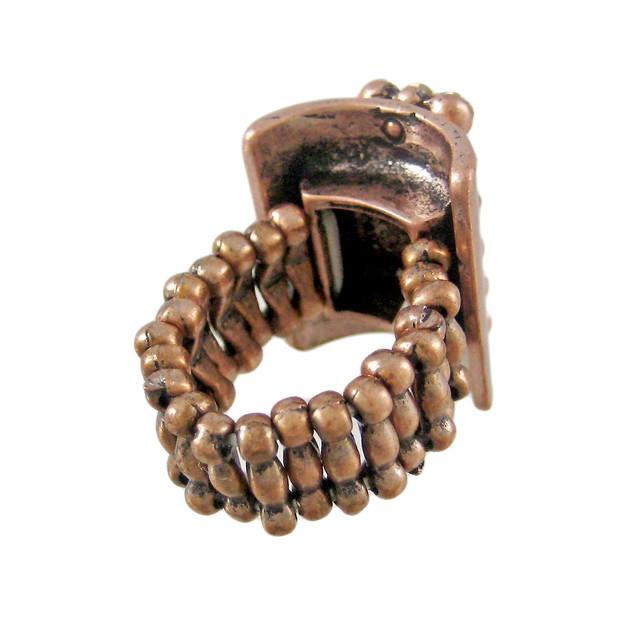 Copper Finish Clear Rhinestone Stretch Ring Womens Rings