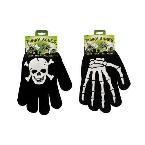 Skull and Bones Glow in the Dark  Gloves (2-Pairs)