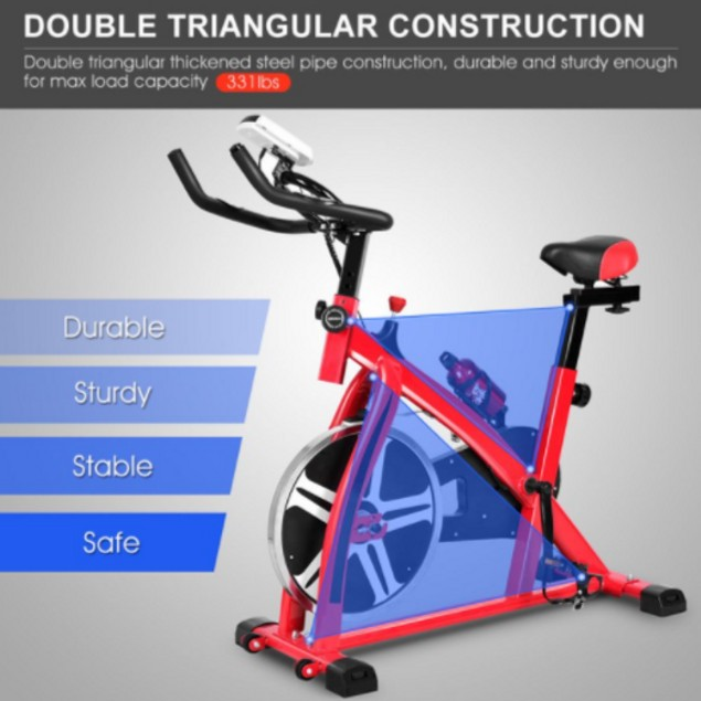 Costway Adjustable Exercise Bike with LCD Display